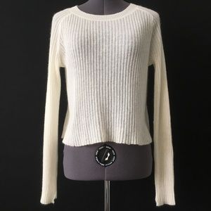 ALC White Knit Ribbed Stretch Sweater